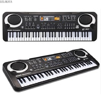 Mini Baby Fashion Learning Black 61 Keys Electronic Keyboard Piano with Microphone Baby Musical Instrument Toys Simulation Gift