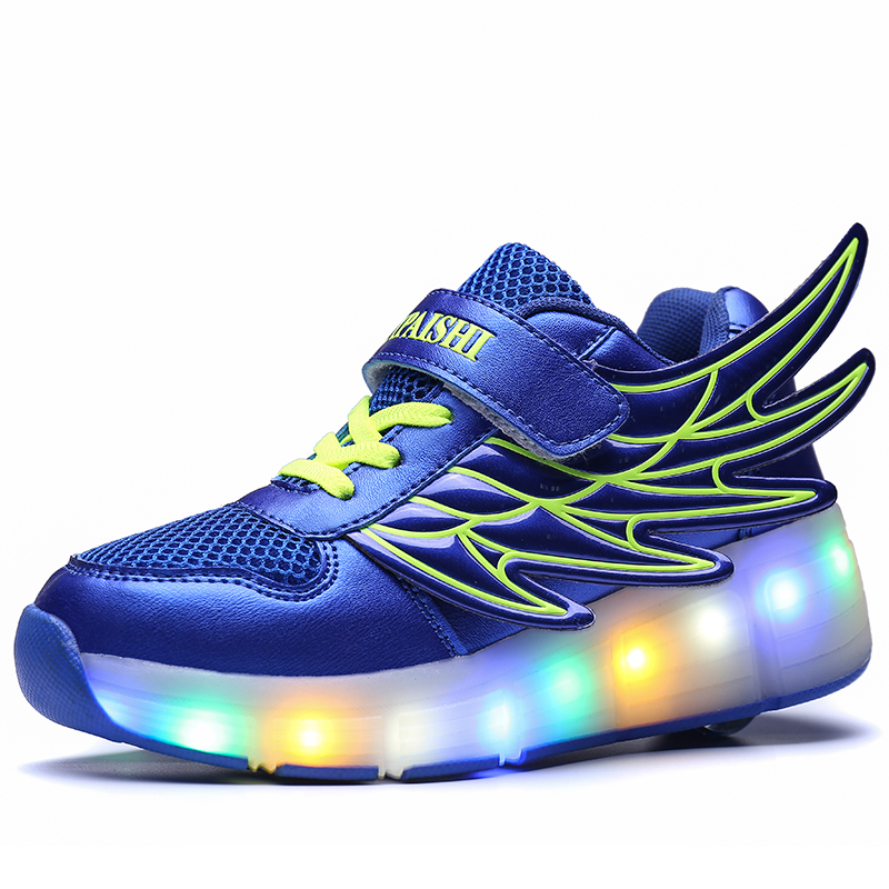 Wing PU leather Single Wheel Glowing Sneaker LED Light Mesh Casual Shoes Boys Girls Little Kids/Big Kids Flashing 29-40 boys girls low top led light up sneakers little kids big kids flashing board rechargeable breathable shoes blue pink blackgreen