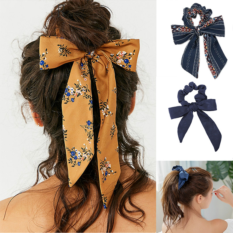 Women Bow Streamers Hair Ring Fashion Ribbon Girl Hair Bands Scrunchies Horsetail Tie Solid   Headwear   Hair Accessories