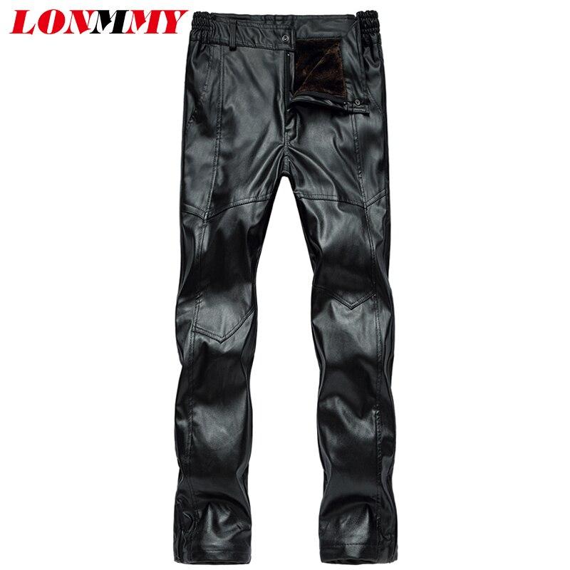 LONMMY 4XL 5XL Plus velvet thick warm leather pants mens Fashion Black Casual Military pants men trousers 2018 Winter Autumn