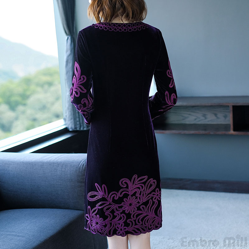 2019 Chinese Traditional Clothing Women Purple Velvet Dress Autumn ... 8a8ee42368a2