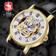 SAS Watch Men Luxury Waterproof Fashion Business Casual Leather Hollow Skull Dial Strap montre Clock