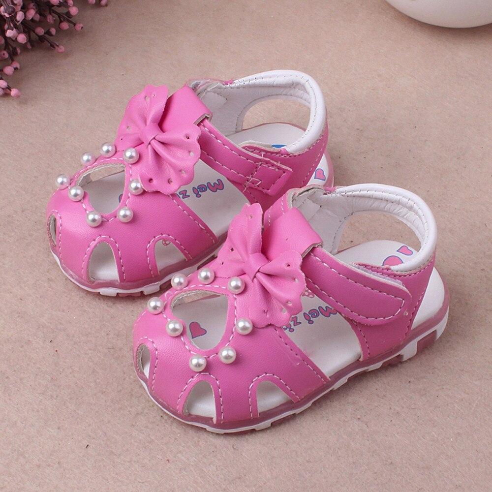 Baby Mode Sneaker Perle Bowknot Kinder Licht Leucht Casual Sandalen Schuhe Neue Sommer Alias Mode Schuh Für Mädchen 2018 2019 New Fashion Style Online