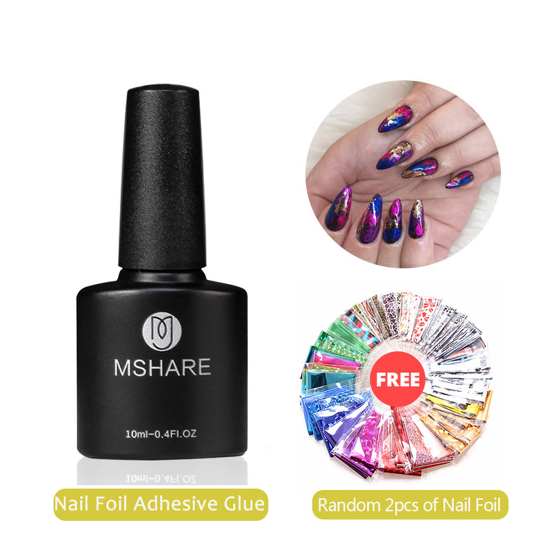 MSHARE Nail Foil Adhesive Transfer Gel Glue Holograph Sticker Polish Set 10ml Free Starry Paper Print Foils Wraps Decals