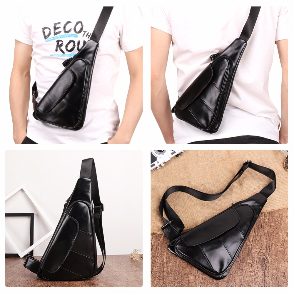 Image 5 - JOYIR Men Triangle Cow Leather Shoulder Bag Travel Genuine Leather Chest Bag Strap Sling Casual Chest Pack Crossbody Bag for Men-in Waist Packs from Luggage & Bags