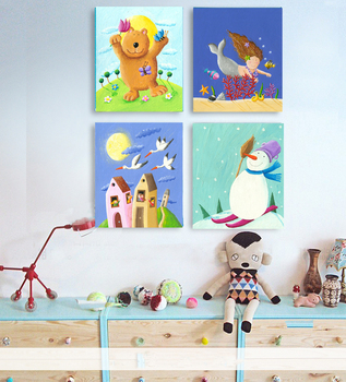 figurative canvas painting scenery prints poster cartoon poster children room decoration prints carton seasons greeting