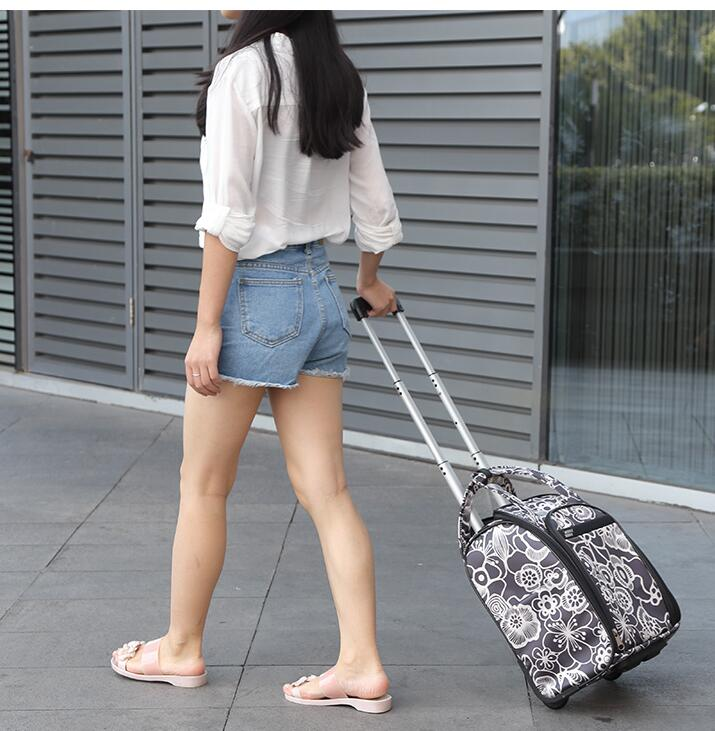 Brand Women Travel Luggage Bag Cabin Travel Bag Rolling Luggage Case Trolley Suitcase Wheeled Bags For Women Travel Tote Duffles