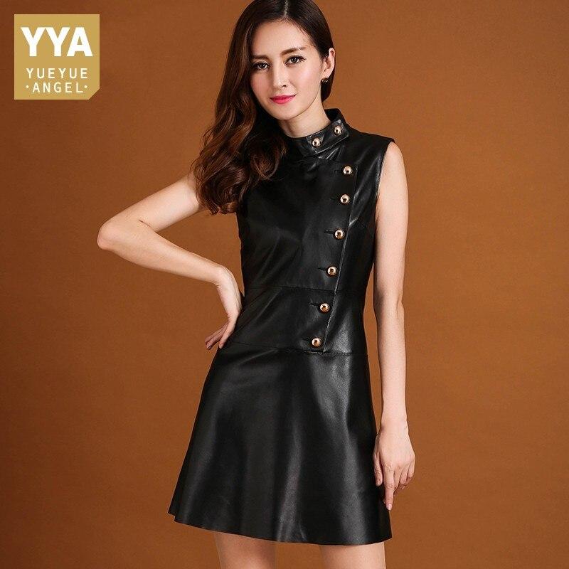 Autumn Winter Genuine Sheepskin Dress Brand Office Black Slim High Quality Leather Dress Elegant Runway Pullover