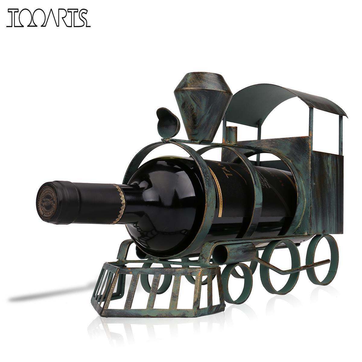 Tooarts Treno Supporto di Bottiglia di Vino Bottiglia Del Mestiere di Arte del Ferro Creativo Cremagliera del Vino del Metallo Classico Del Basamento Figurine Decorazione Opere D'arte Regalo