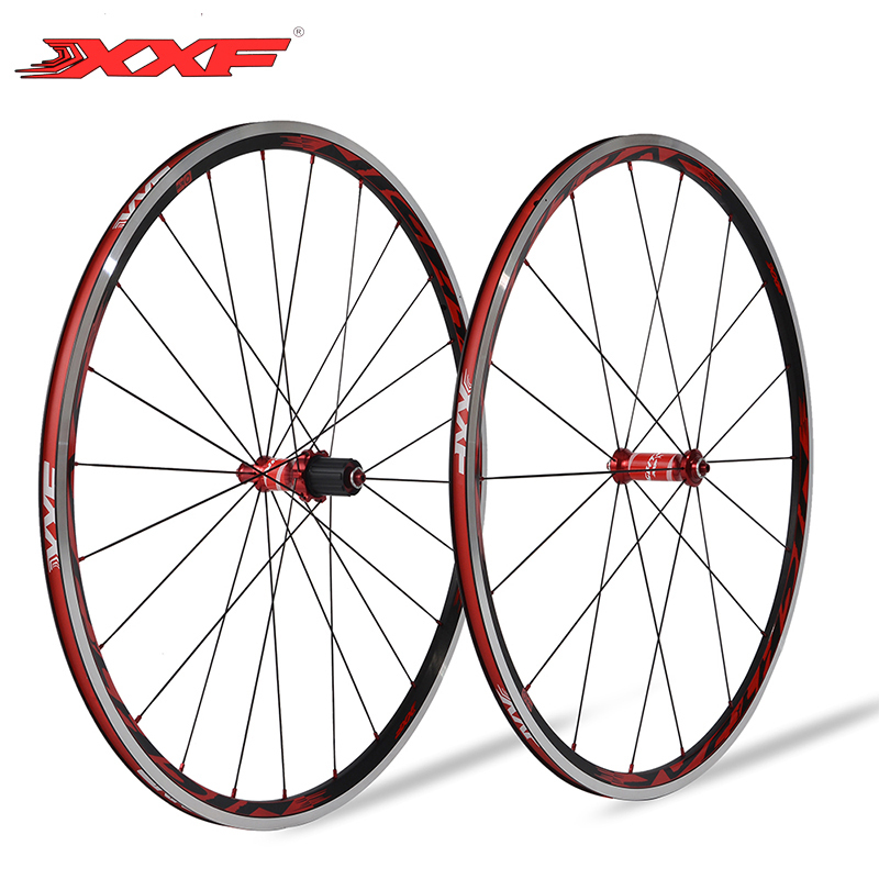 XXF 700C 18H/24H Holes Road Bike Bicycle Aluminum Wheelset Riding Cycling Ultralight Wheel With Titanium Quick Release NIGHT JAR