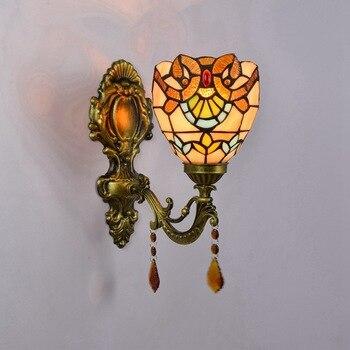 Тиффани-барокко, винтажная витражная железная Русалочка, настенная лампа, внутреннее освещение, прикроватные лампы, настенные светильники ...