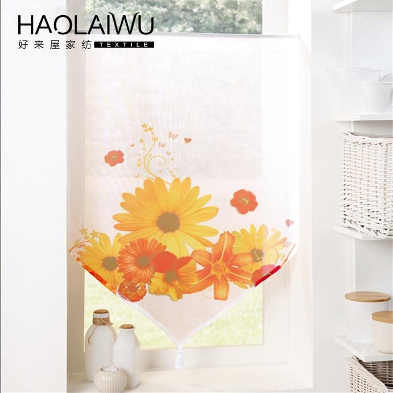 small curtain european 3d print sunflower vorhanng kitchen curtain rope voile short window curtains cortinas rideaux court