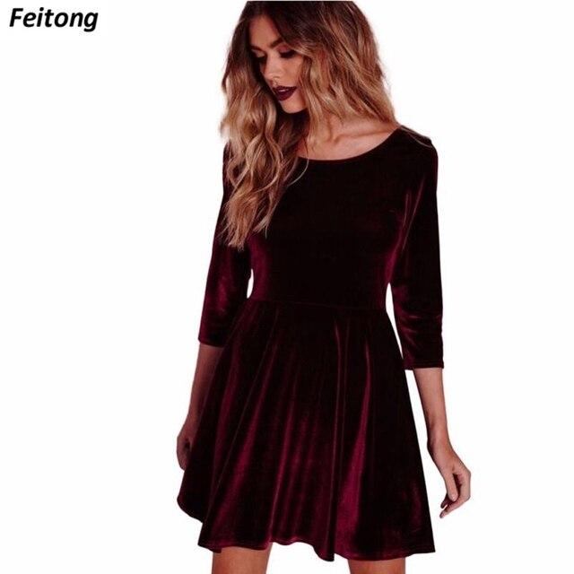 1420d3aa6adbb Kadın Kadife Elbise Moda Ofis Şarap Kırmızı Vintage Sıcak Yarım Kollu O  Boyun Elbise Sonbahar Bahar