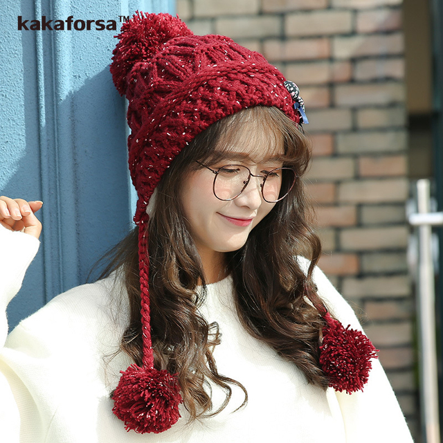 ab45aa33e9e New Winter Women Cute Warm Beanies Thickened Soft Solid Acrylic Pompom Hats  with Detachable Decoration Female
