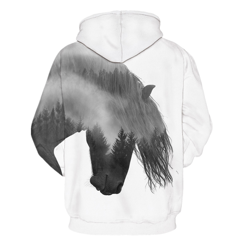 Animal Pullover Tracksuit Mens Hoodies 3D Print Forest Tree Swift Horse Casual Tops With Cap White Hooded Sweatshirt Men Women in Hoodies amp Sweatshirts from Men 39 s Clothing
