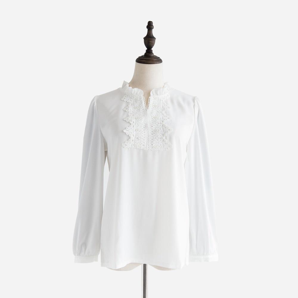 Buena calidad primavera otoño blusa blanca Camisa de gasa de encaje ...