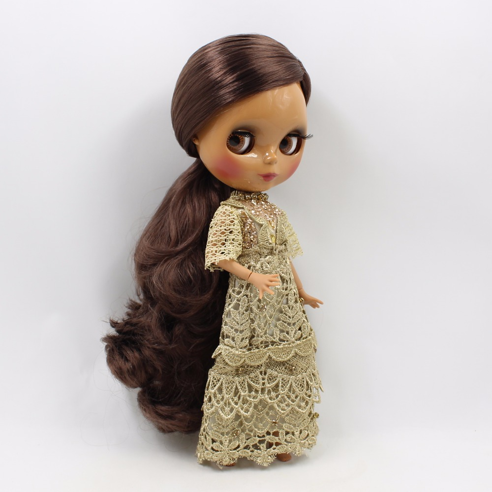 Neo Blythe Doll with Brown Hair, Dark Skin, Shiny Face & Jointed Body 1
