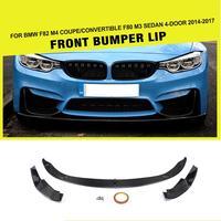 Углеродное волокно головки цилиндра передний бампер для губ разветвитель для BMW F8X F80 M3 F82 F83 M4 2014 2018 седан купе FRP 3 стиля