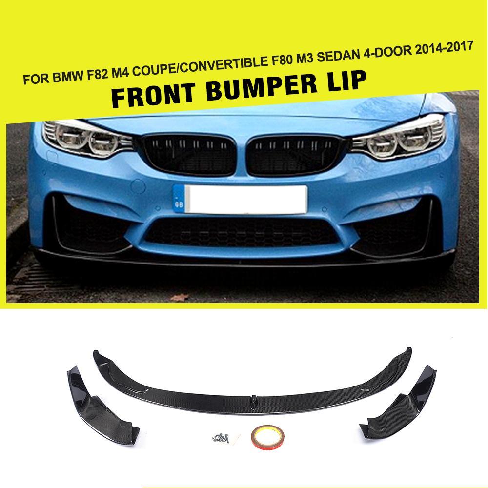 Fibre de carbone Tête Pare-chocs Avant Lip Splitters pour BMW F8X F80 M3 F82 F83 M4 2014-2018 Berline Coupé convertible FRP 3 Style