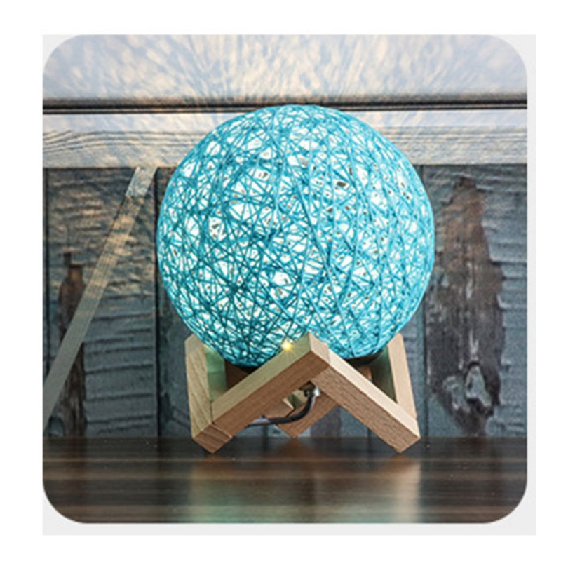 Dropship Desk Moon Lamp Bedside Indoor Lamp Rattan Ball Home Decorative Lamp 3D LED Rattan Moon Night Light Moonlight Table