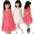 Frete Grátis 2014 Verão Chiffon Lace Bow Lovely Casual Mangas Princesa Bebé infantil Vestidos Roupas Rosa/Vermelho