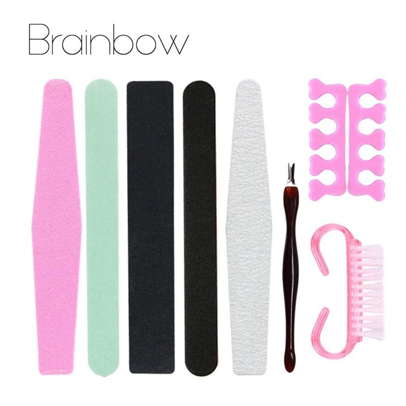 Brainbow 8st / Pack Manicure Verktyg Set & Kit Nail File Buffer - Nagel konst