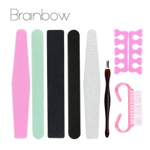 Brainbow 8pcs/Pack Manicure Tools Set&Kit Nail File Buffer Sanding File Polishing Brush Dead Skin Fork Foam EVA Finger Separator