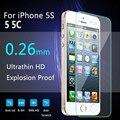 10 Pcs Um Monte de Vidro Temperado Film Protector de Ecrã Para IPhone 5 5C 5S 0.26mm HD Explosão-prova de Altíssima Qualidade + Limpo kits