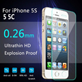 10Pcs A Lots Tempered Glass Film Screen Protector  For IPhone 5 5C 5S  0.26mm HD Hight Quality  Explosion-proof   + Clean kits