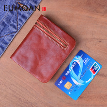 EUMOAN New Arrivals Minimalist Soft Purses Genuine  Leather European And American Style Women thin mini Wallet Hot Vintage Coin
