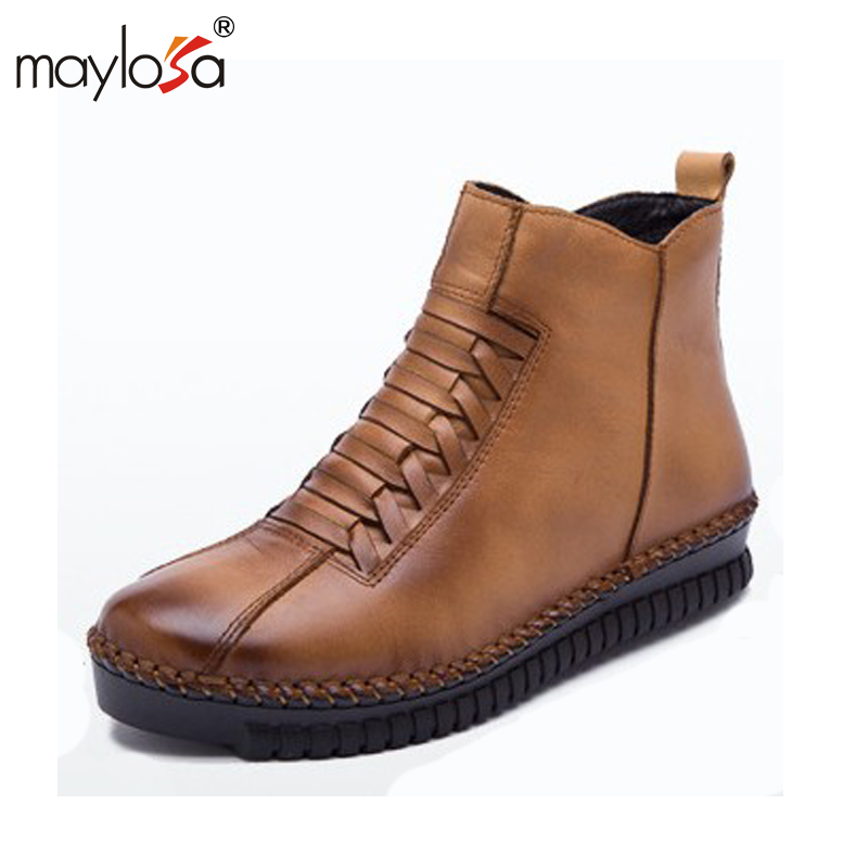 MAYLOSA fashion women winter Genuine Leather Boots warm Vintage Style Flat Booties Soft Cowhide woman snow boots Ankle Boots maylosa 2017 vintage style genuine leather women boots flat booties soft cowhide women s shoes zip ankle boots warm winter shoe