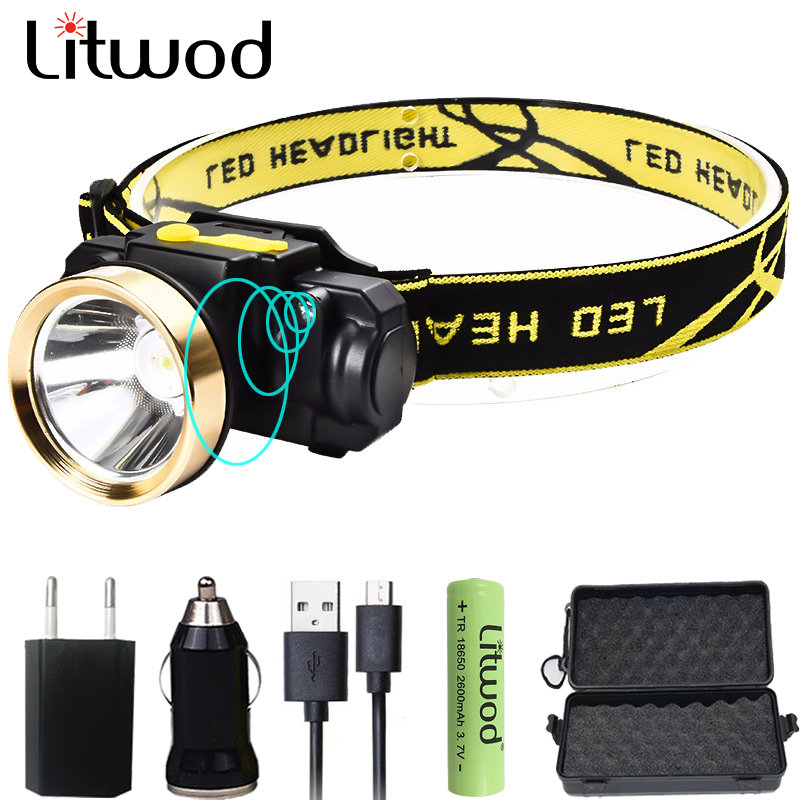 Litwod Z2090 LED Body Motion Sensor Headlamp Headlight Rechargeable Flashlight Head Torch Lamp For Outdoor Camping working light