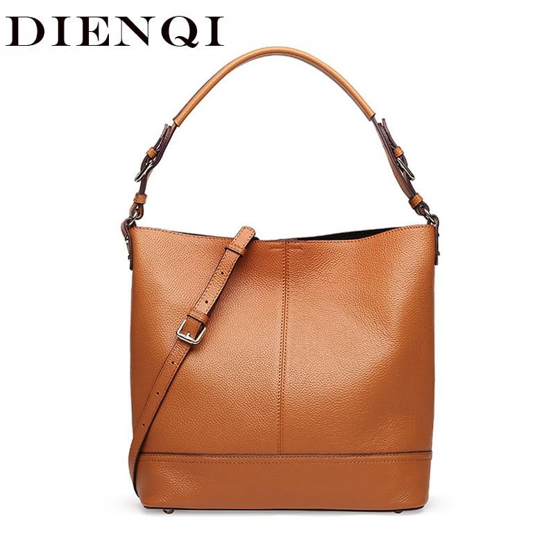 все цены на DIENQI High Quality Genuine Leather Luxury Handbags Women Bags Designer Female Shoulder Bags Big Messenger Bag bolsos mujer 2018