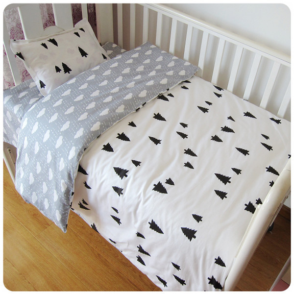Promotion! 3PCS Kitty Mickey Infant Baby Crib Bedding Set Baby Nursery Bedding Sets Cartoon ,Duvet Cover/Sheet/Pillow Cover,