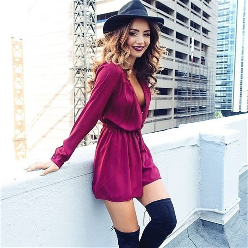 Women Clothes Summer Street Casual Jumpsuits Rompers Sexy V-neck Long Sleeve Lace up Playsuits Solid Color Loose Black Jumpsuits