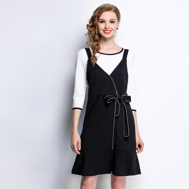 2018 Spring female elegant twinset dress bow strape dress+white t shirt female  casual vestidos 17b183da2e2a