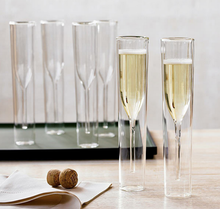 Heat-Resistant European Double Layers Glasses Champagne Flutes Goblet Bubble Wine Tulips Decoration Wedding Cups Drinkwar LFB347