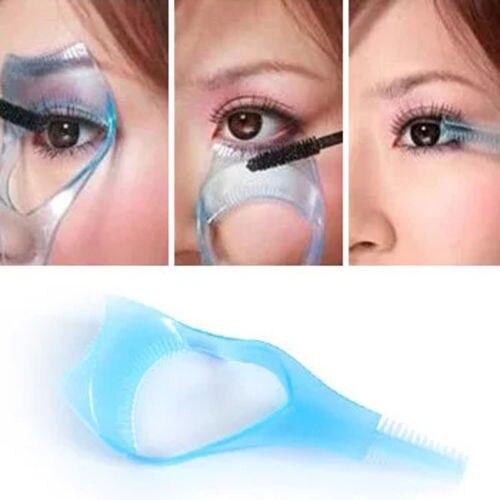 Prático Cartão de Olho Maquiagem 3 em 1 Mascara Guia Aplicador de Cílios Pente