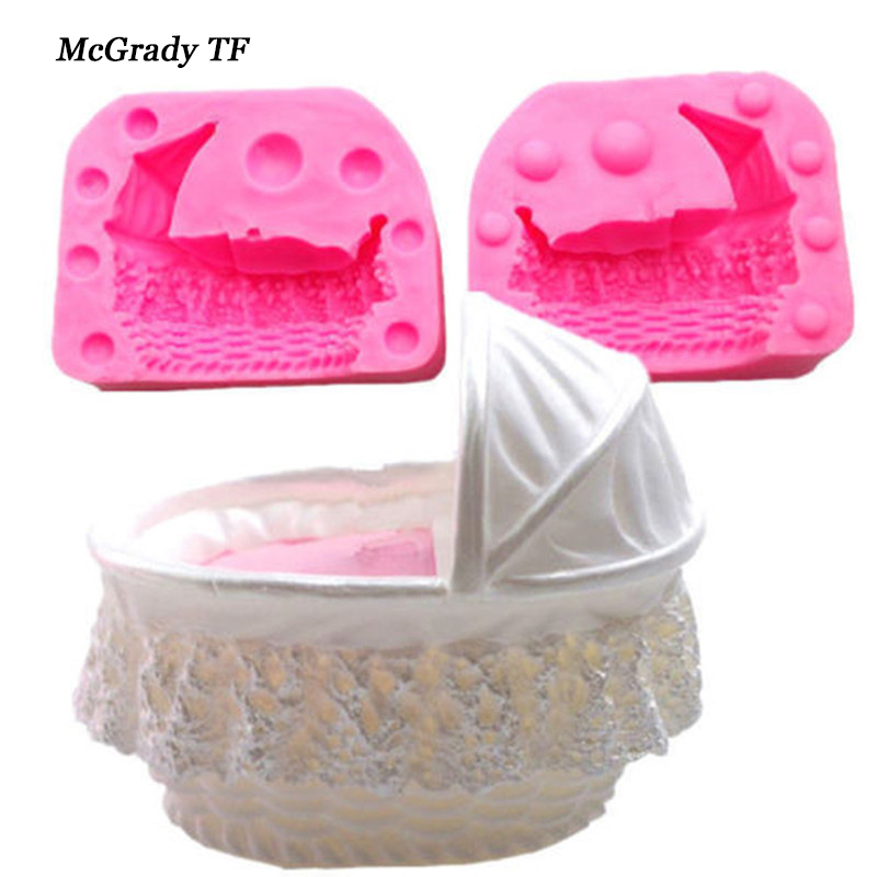 3D Baby Kid Crib Bassinet Cradles Carriage Car Silicone Mold Cake Mould Fondant Tools De ...