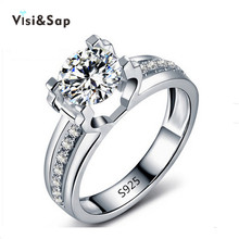 Visisap Hollow Clear Stone Wedding Rings engagement jewelry for women shine cubic zirconia wholesale white gold