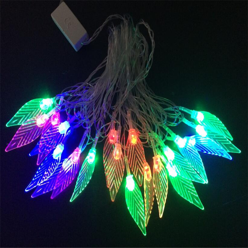 Changeable 4M 20 Led String Lights Hard Leaves Fairy Decorative Lights Xmas Wedding party Xmas Garland Curtain Home decor