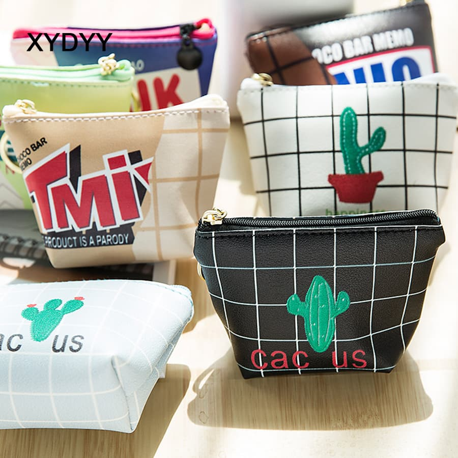 XYDYY Fashion Cactus Prints Women Coin Purses Female PU Leather Zipper Coin Purses Small Square Change Coin Purse Pouch Wallet