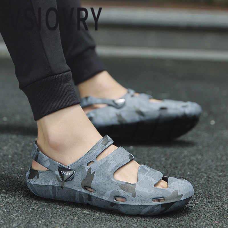 Vsiovry 2018 mulher sapatos de praia verão nova camuflagem sandálias para homem leve unisex ao ar livre anti-deslizamento sapatos de jardim sandalias