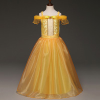 ABGMEDR Fashion Styles Girls Belle Dress Children Clothing Baby Girl Beauty And The Beast Dress Cartoon