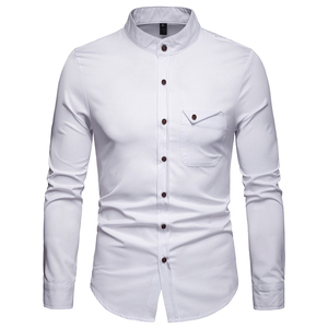 Image 4 - Mens Solid แมนดาริน 2019 เสื้อลำลอง SLIM FIT ไวน์แดงชุดเสื้อสำหรับชายขนาด Woke Tops Camisas social Masculina