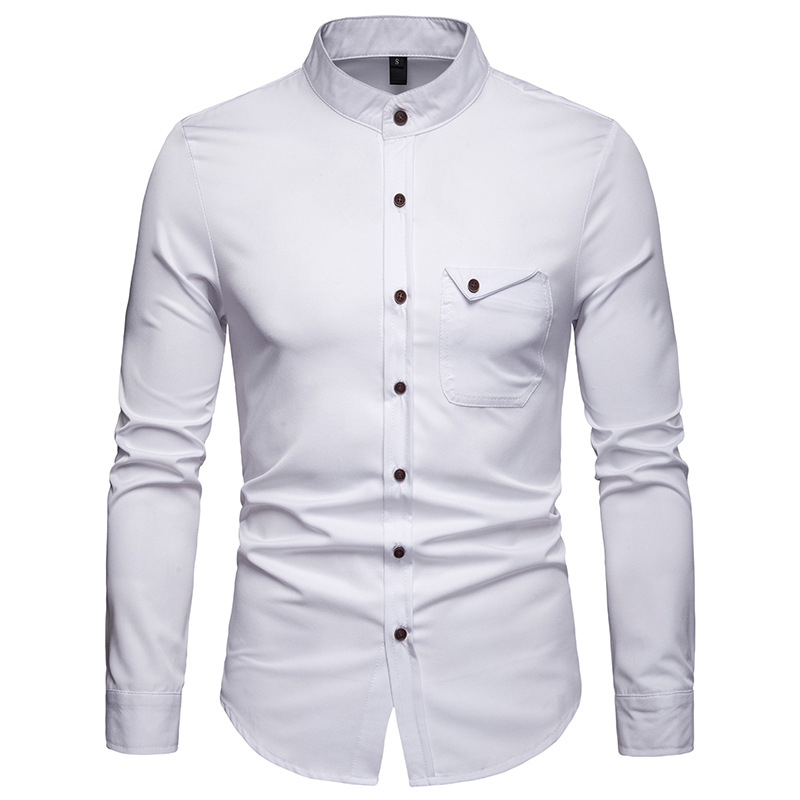 Image 4 - Mens Solid Mandarin Collar Shirt 2019 Casual Slim Fit Wine Red Dress Shirts For Men Plus Size Woke Tops Camisas Social MasculinaCasual Shirts   -