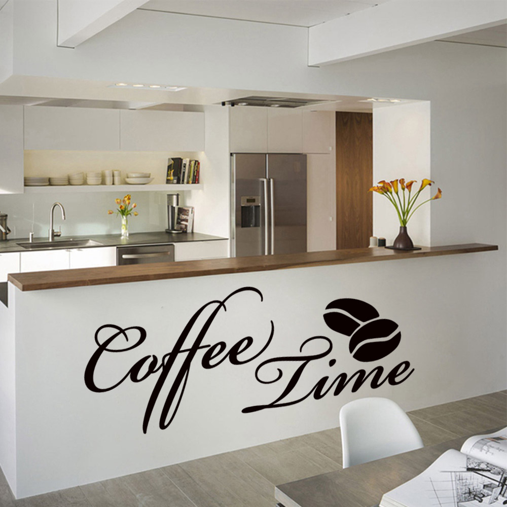 2019 New Coffee Time Vinyl Wall Sticker For Coffee Shop ...