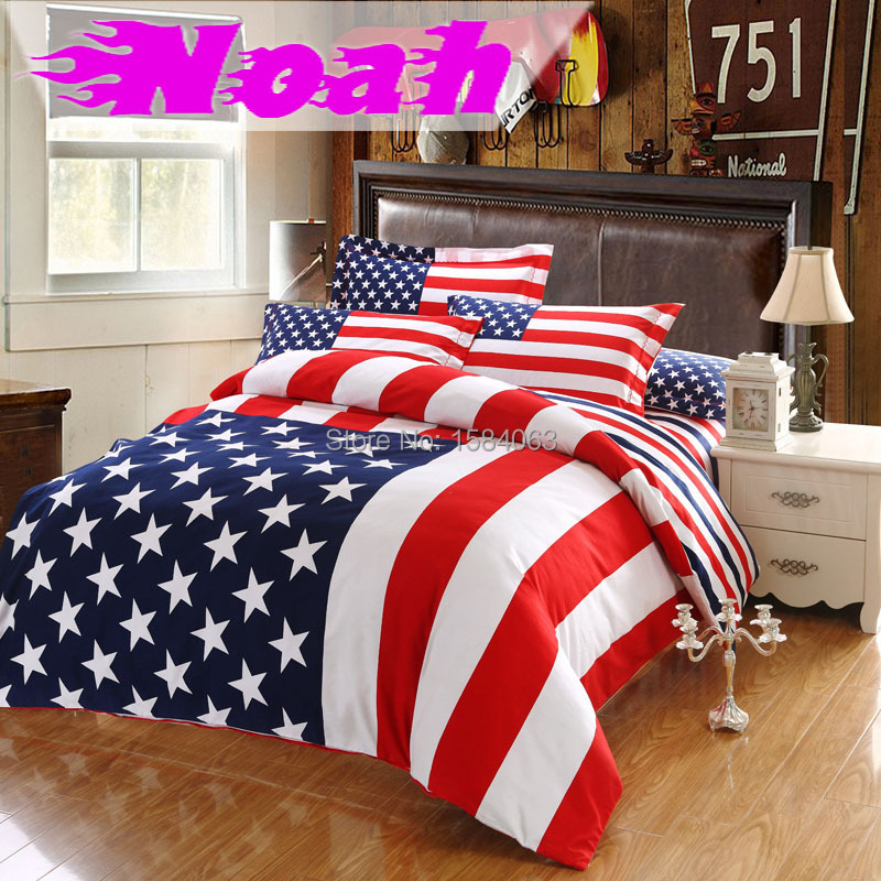 couvre lit usa USA flag bedding set king size American Pie cotton bed sheets  couvre lit usa
