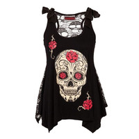 Rock Punk Style Skull Print Tshirt Fashion Women S Loose Lace Patchwork Bandages Casual Sleeveless Tops