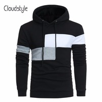 Cloudstyle 2018 Male Pullovers Fashion Long Sleeve Casual Sweatshirts Spring Autumn Patchworked Fitness Hoodies Plus Size